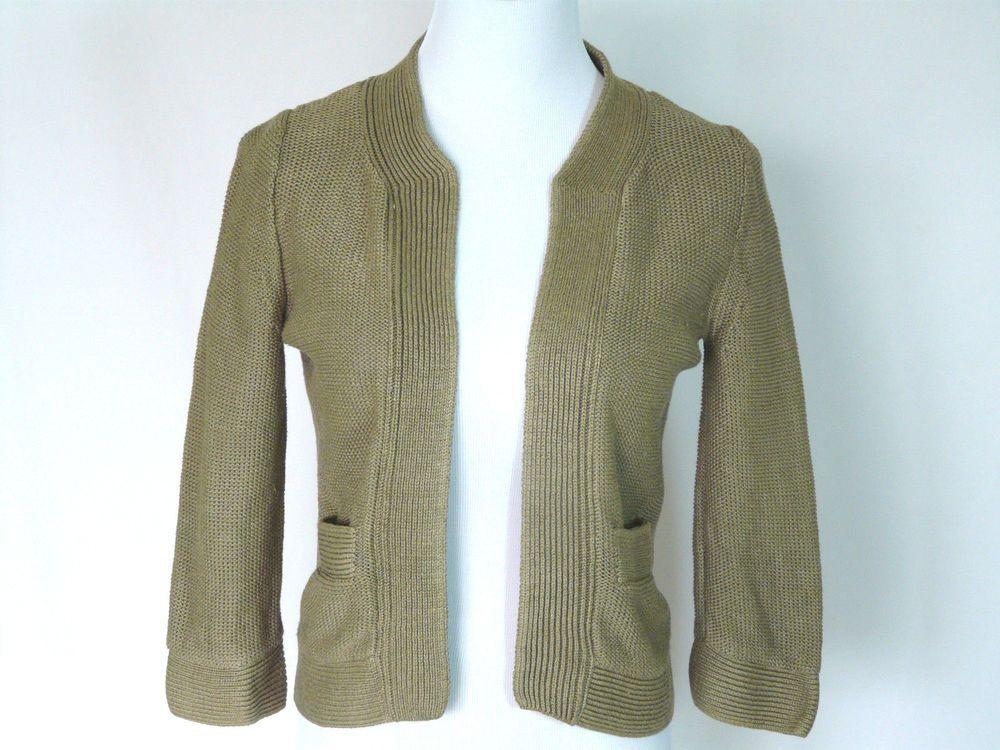 J Crew Women's Linen Open Front Shrug Sweater Tan 3/4 Sleeves Size ...