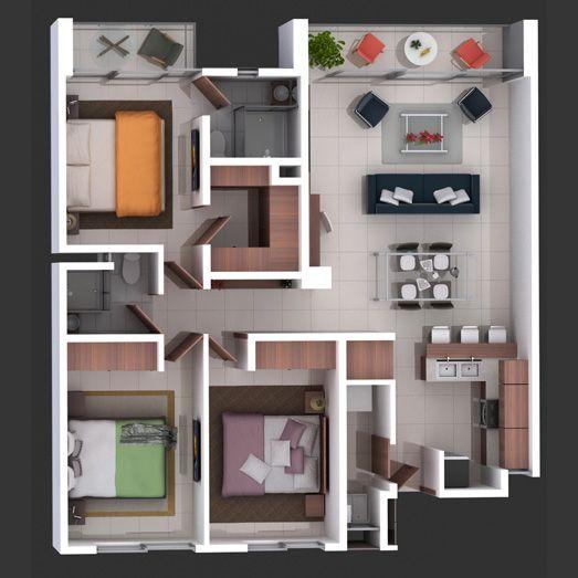 Idea desarrollos casas pinterest casas planos de for Planos de apartamentos modernos