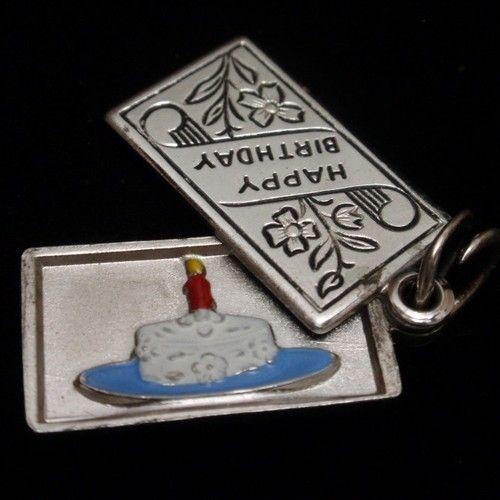 Happy Birthday Cake Slider Charm Vintage Sterling Silver Enamel Wells Engraved | eBay