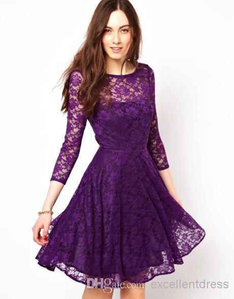 92a4983af9 2015 A-Line Crew Purple Lace Homecoming Dresses 3/4 Long Sleeve Knee ...