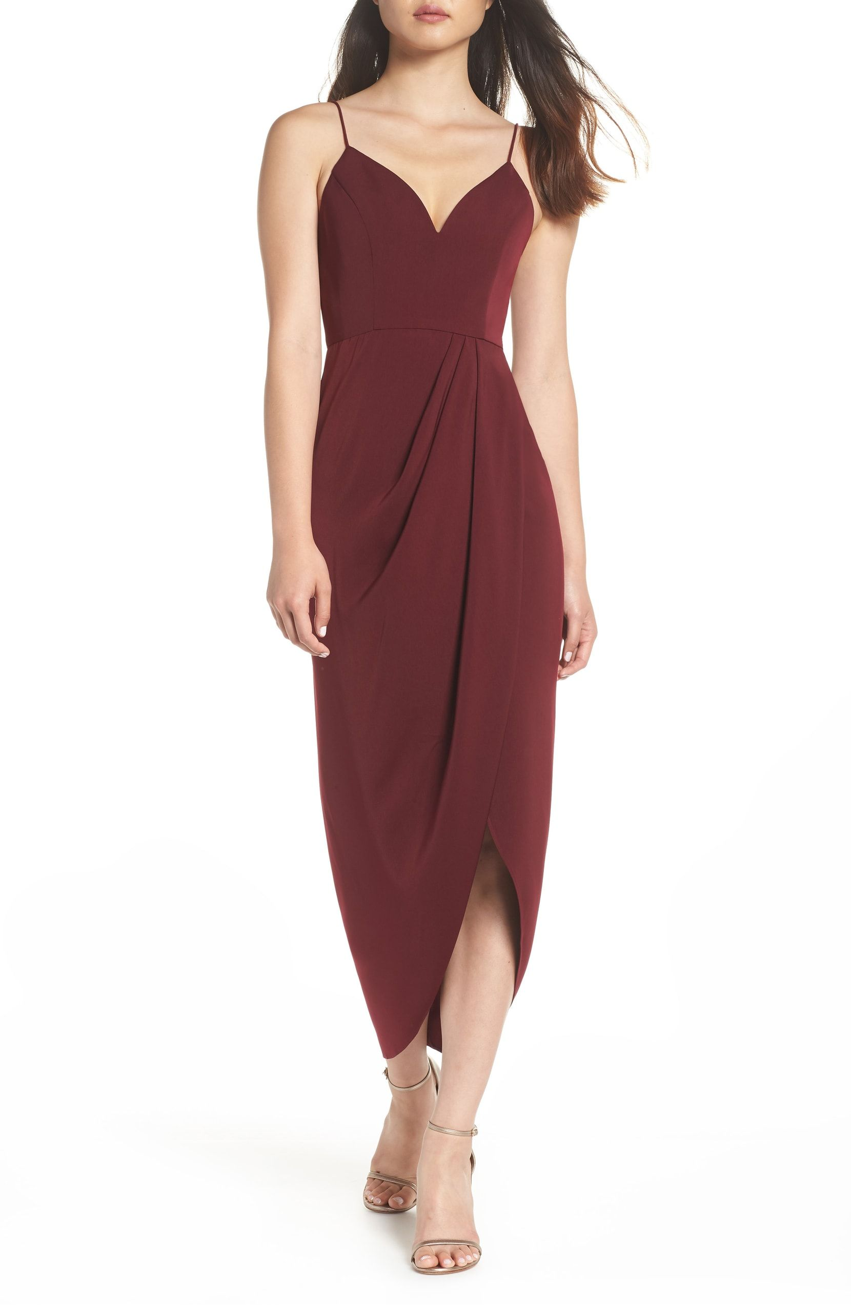Maxi dresses to wear to a wedding  Tulip Hem Maxi Dress Main color Burgundy  Wedding  Pinterest