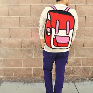 Als de vakantie voorbij is, wil je zo naar school! Red-Cartoon-Backpack