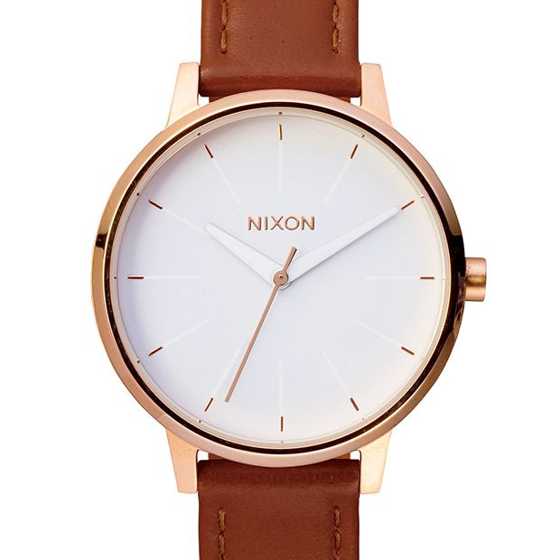 The Kensington Leather (rose gold/white) watch by Nixon. Available at Dezeen Watch Store: www.dezeenwatchstore.com