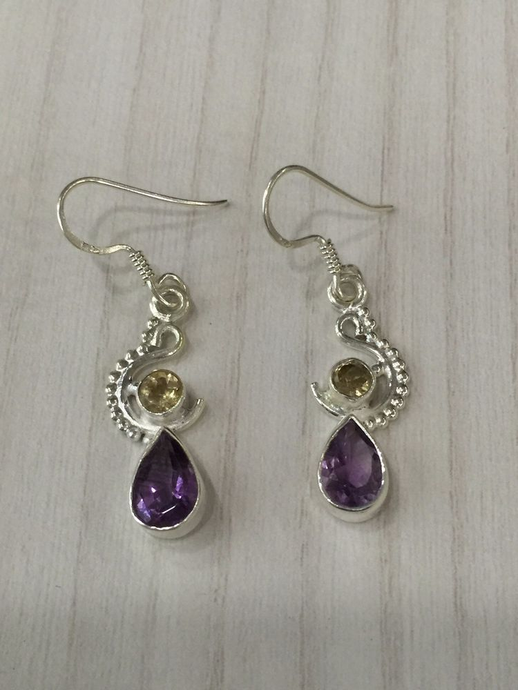 Colorz Of Earth: #Amethyst & #Citrine #Gemstone Earrings in 925 Sterling Silver #ColorzOfEarth