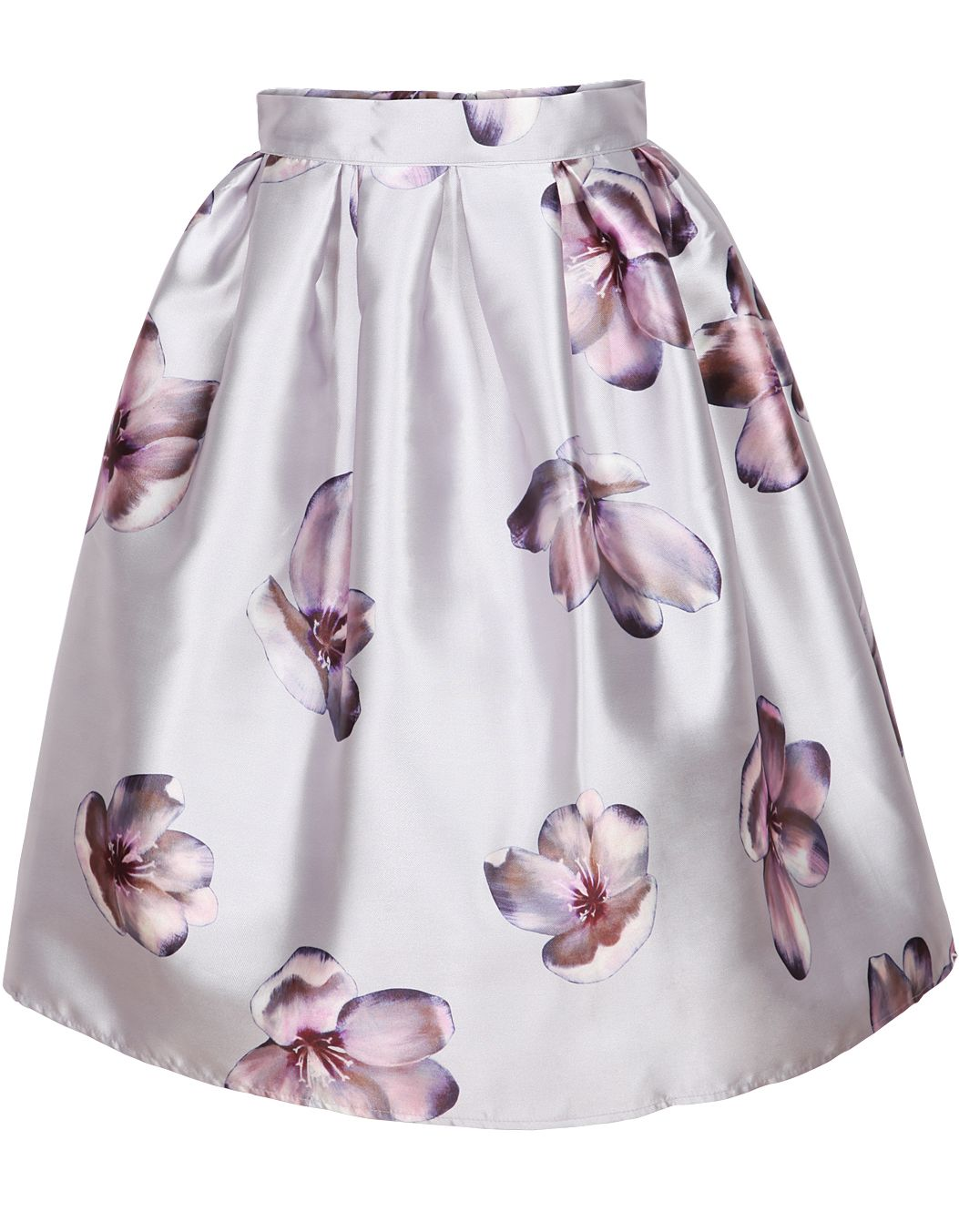 a16081ad16c73 Shop Grey Floral Flare Skirt online. Sheinside offers Grey Floral Flare  Skirt   more to fit your fashionable needs. Free Shipping Worldwide!