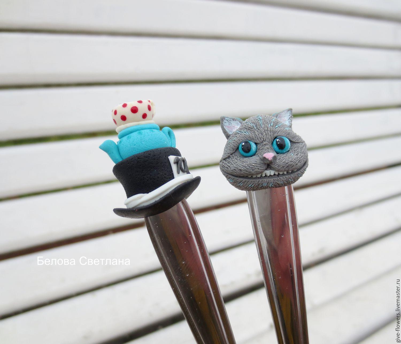 Купить Ложки с декором Кот и шляпа Алиса из полимерной глины - белый, ложки с декором