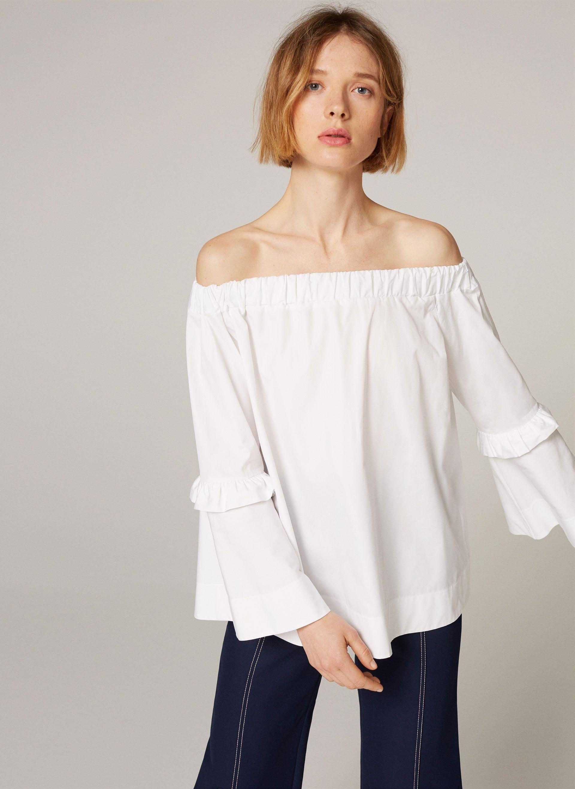 Uterqüe France Product Page - Nouveauté - Prêt-à-porter - Chemise épaules dénudées - 75
