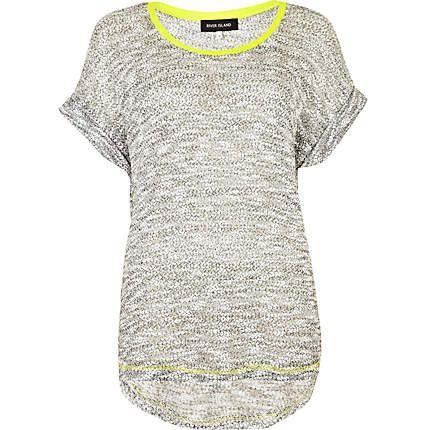 grey marl sweat t-shirt - t-shirts - t shirts / vests / sweats - women - River Island