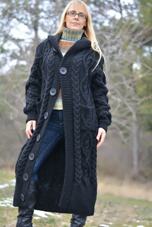 Photo of READY handmade sweater coat wool cardigan knitted wool coat long cardigan hooded wool coat long black jacket cabled cardigan Dukyana L XL