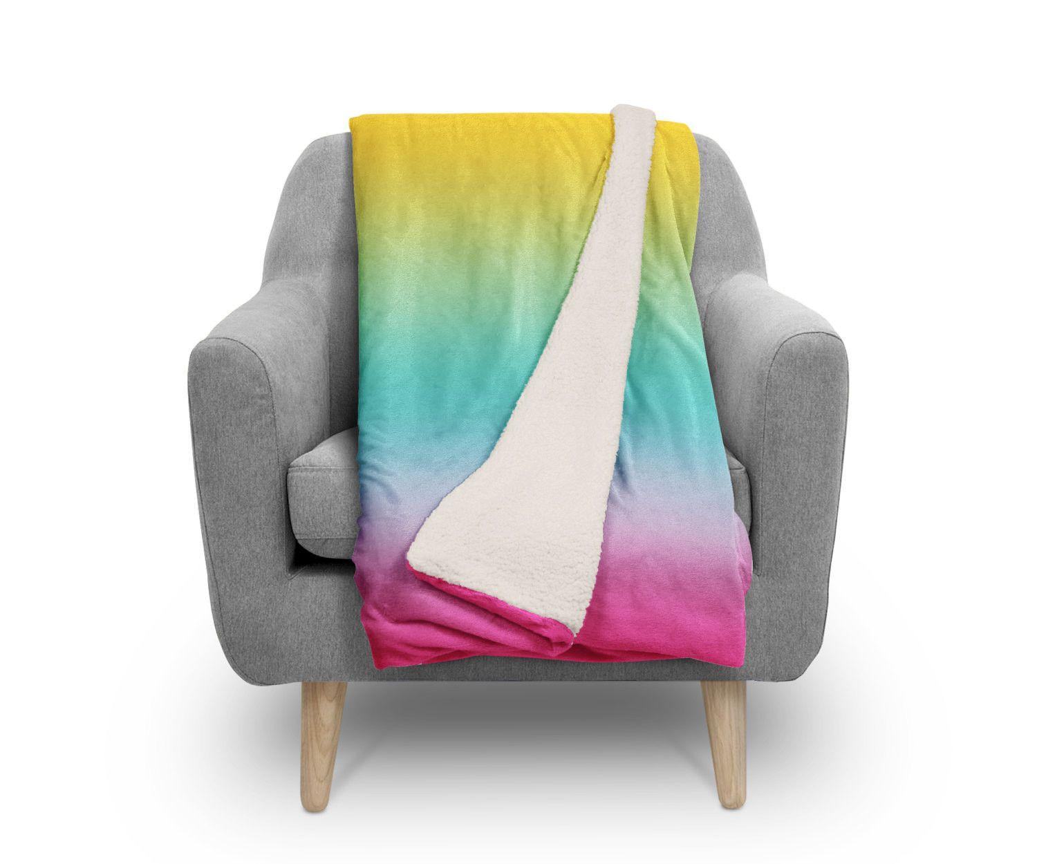 Sherpa fleece throw rainbow ombre by kalilaine products