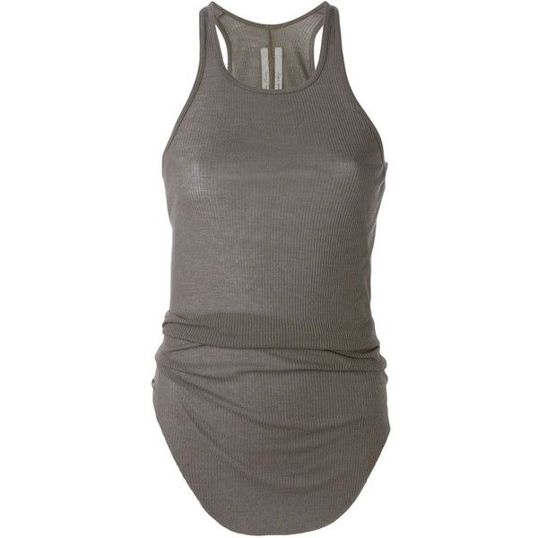 Rick Owens curved hem tank top (2.115 ARS) ❤ liked on Polyvore featuring tops, tanks, shirts, tank tops, grey, racer back tank, gray tank, racerback tops, racer back tank top and gray racerback tank