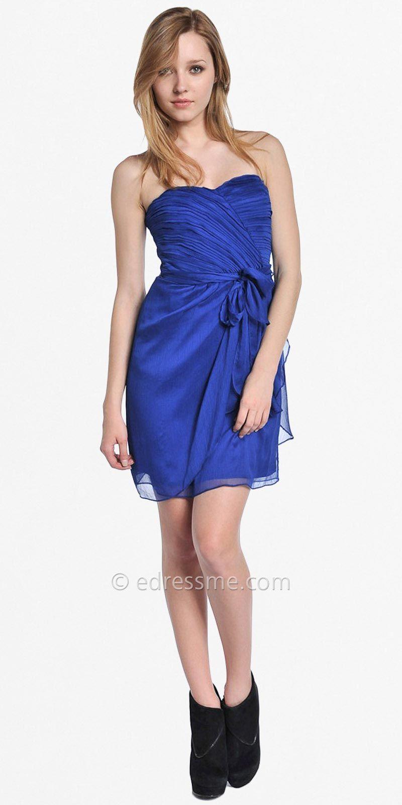 Blue Strapless Satin Party Dresses by Greylin | fashion | Pinterest ...