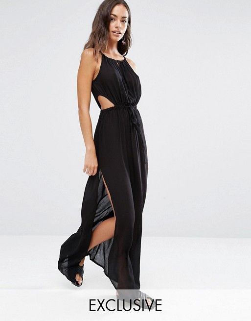 a7f3c24339 Akasa Exclusive keyhole cut out beach maxi dress in black | My ...