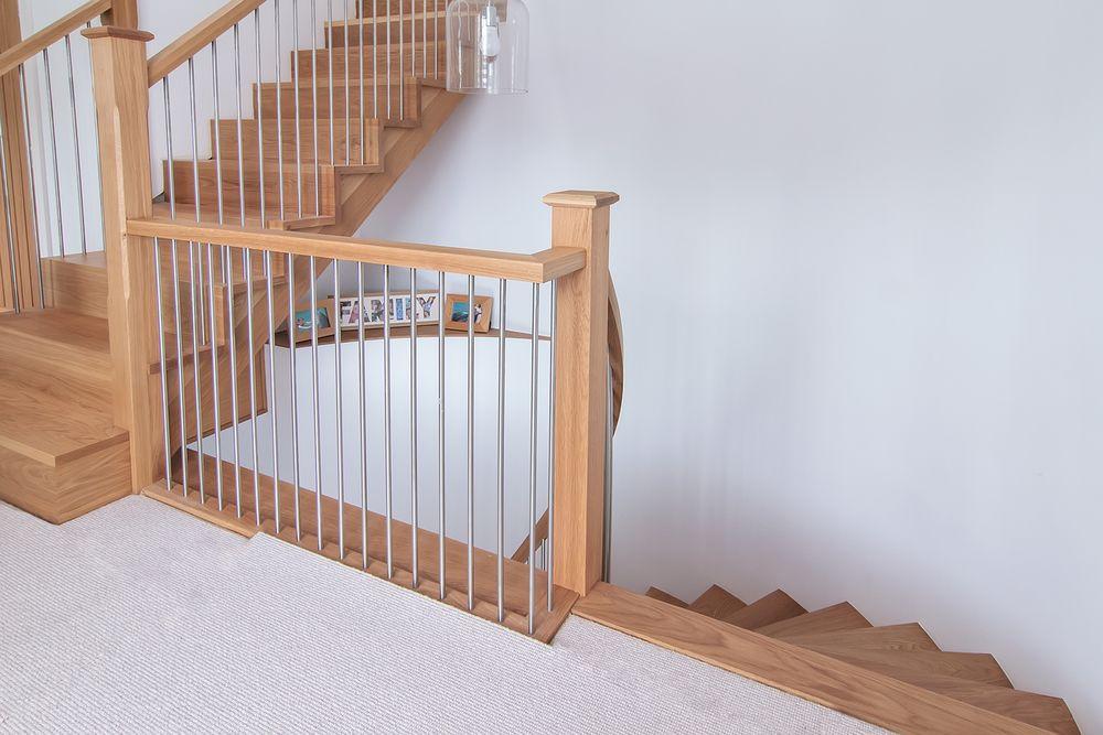 Pin On Staircase Handrail | Brushed Nickel Stair Railing | Horizontal | Farmhouse | Matte Finish | Light Dark Wood | Hallway