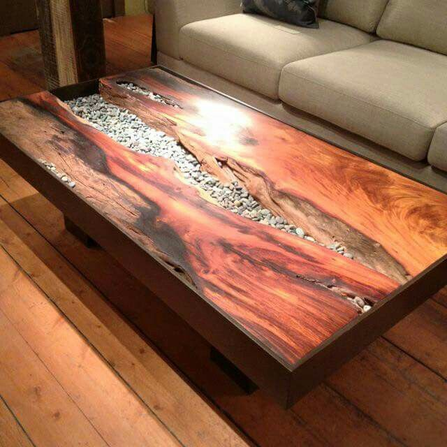 Pebble Stone Outdoor Coffee Table: Wood With Stone Inlay Coffee Table
