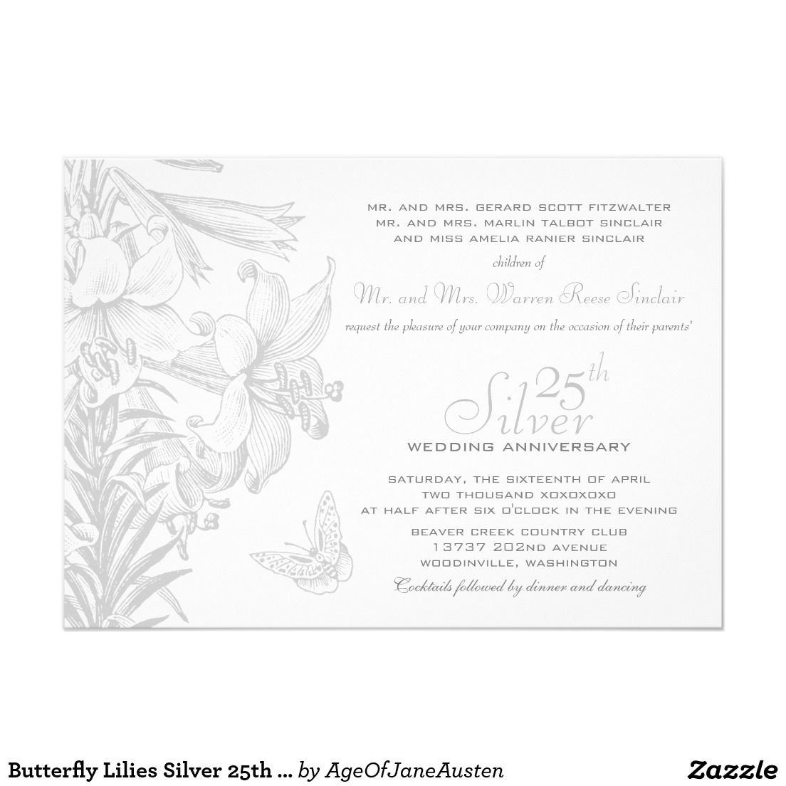 Butterfly Lilies Silver 25th Wedding Anniversary 5x7 Paper ...