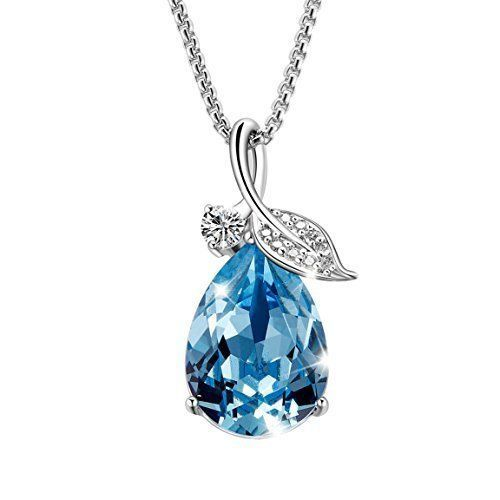 Mothers Day Gifts Birthday Women Pendant Necklace Jewelry with Blue Crystal NEW #mothersday #Pendant
