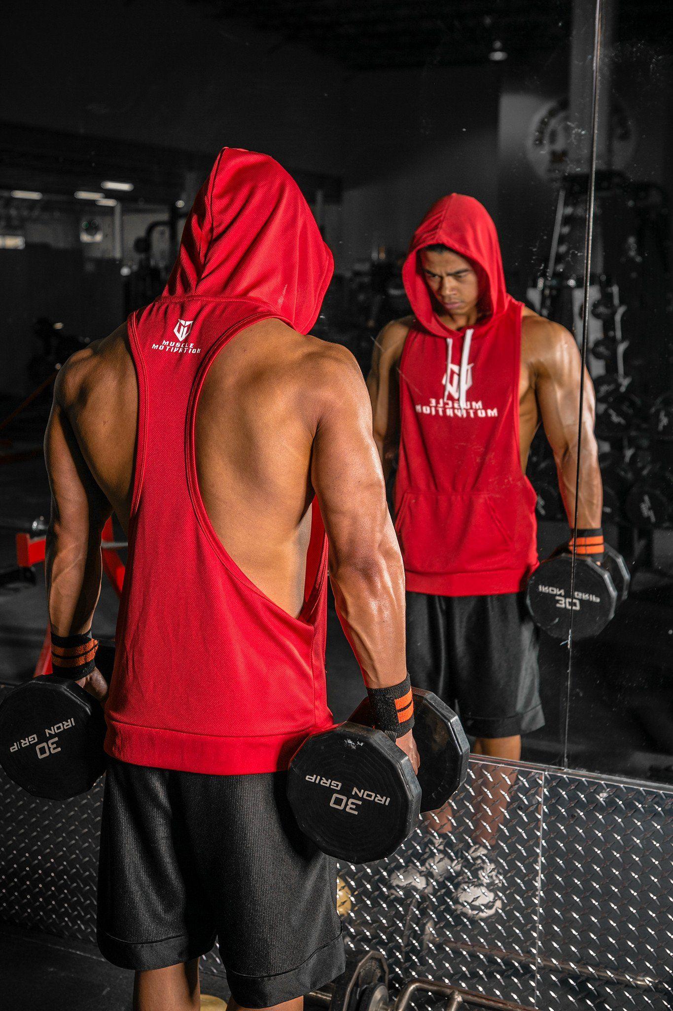 fa31d5d71 Men's MM Racerback Hoodie - Red   iStyle   Sleeveless hoodie, Mens ...