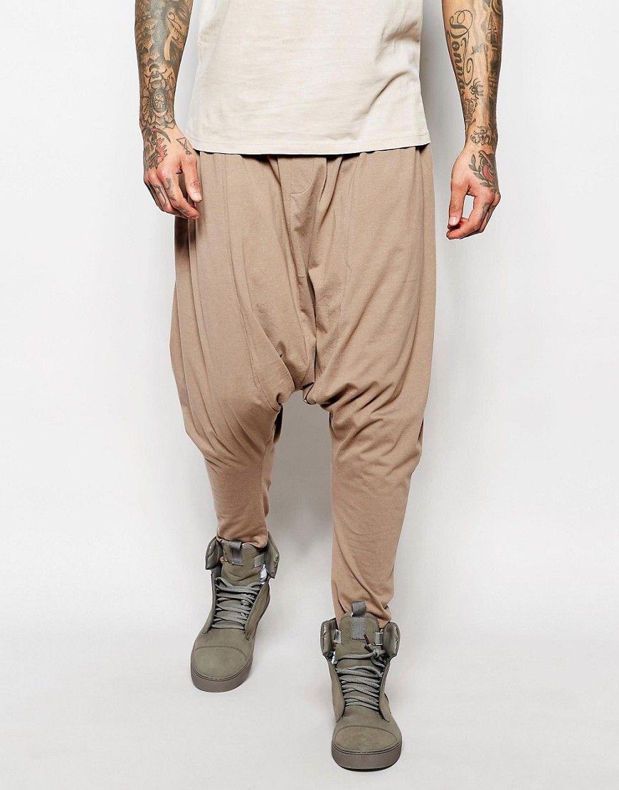 Mega lækre ASOS Extreme Drop Crotch Joggers In Lightweight Fabric In Brown  - Pine bark ASOS