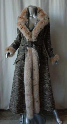 VALENTINO Womens Long Belted Boucle *FUR TRIM* Floor Length Maxi Jacket Coat 10