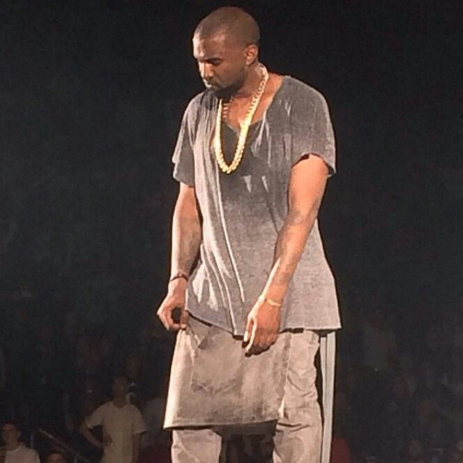 Stage Shot From Kanye West Yeezus Tour Yeezy Wearing Skirt
