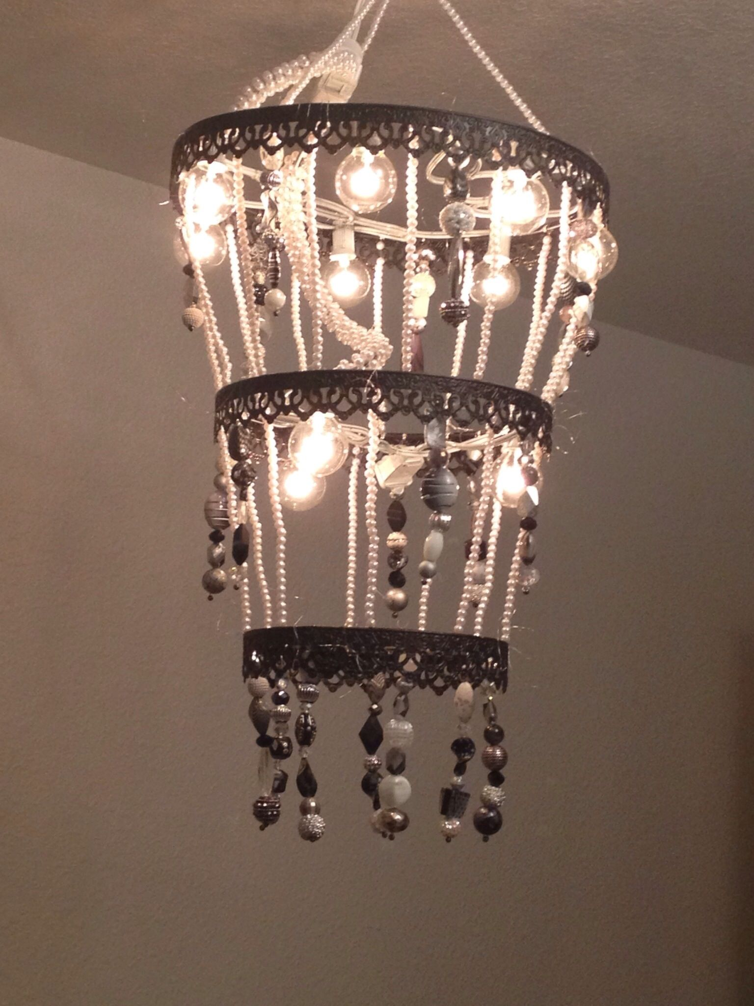 Beautiful homemade chandelier made with metal rings 22 gauge wire beautiful homemade chandelier made with metal rings 22 gauge wire with beads small globe lights amazing look and incredible ambiance aloadofball Gallery