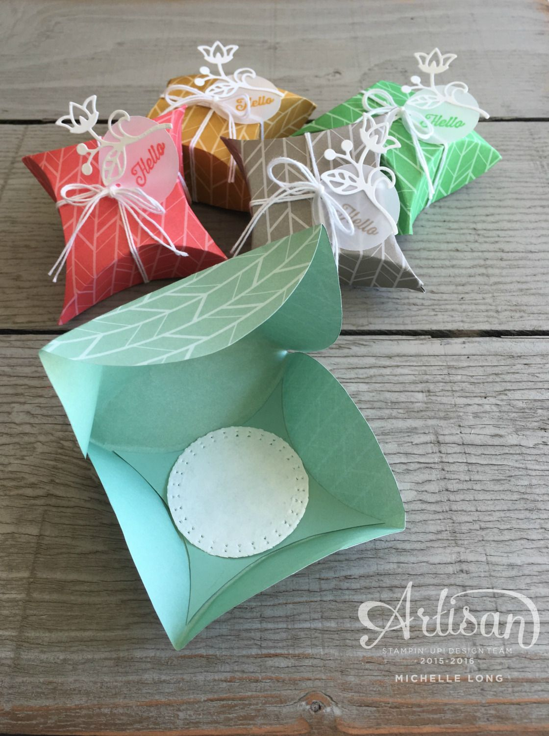 Pillow boxes inside stampin stamping ideas anything but