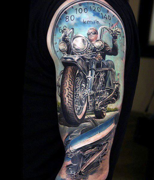 Motorcycle full sleeve tattoos for men tattoo for Motorcycle tattoo sleeve