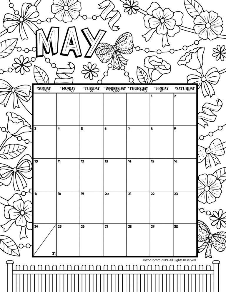 May 2020 Coloring Calendar Kids Calendar Printable Coloring