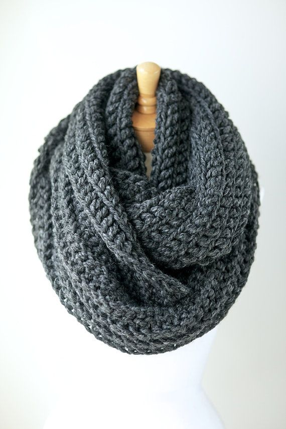 Knit scarf, chunky knit infinity scarf in Pale Brown or Beige, hand ...