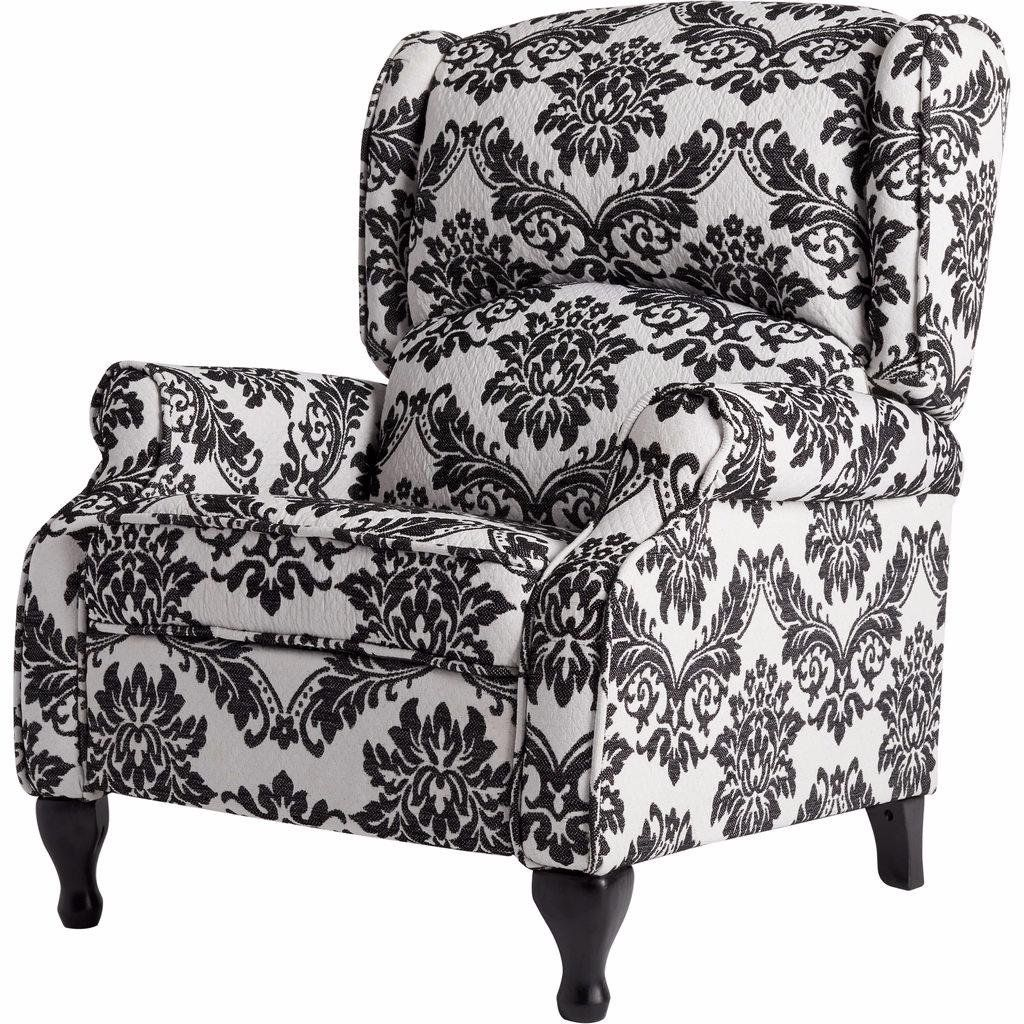 Off White Foam Recliner Chair And Black Floral Print, Wing Back Armchair  Includes Custom
