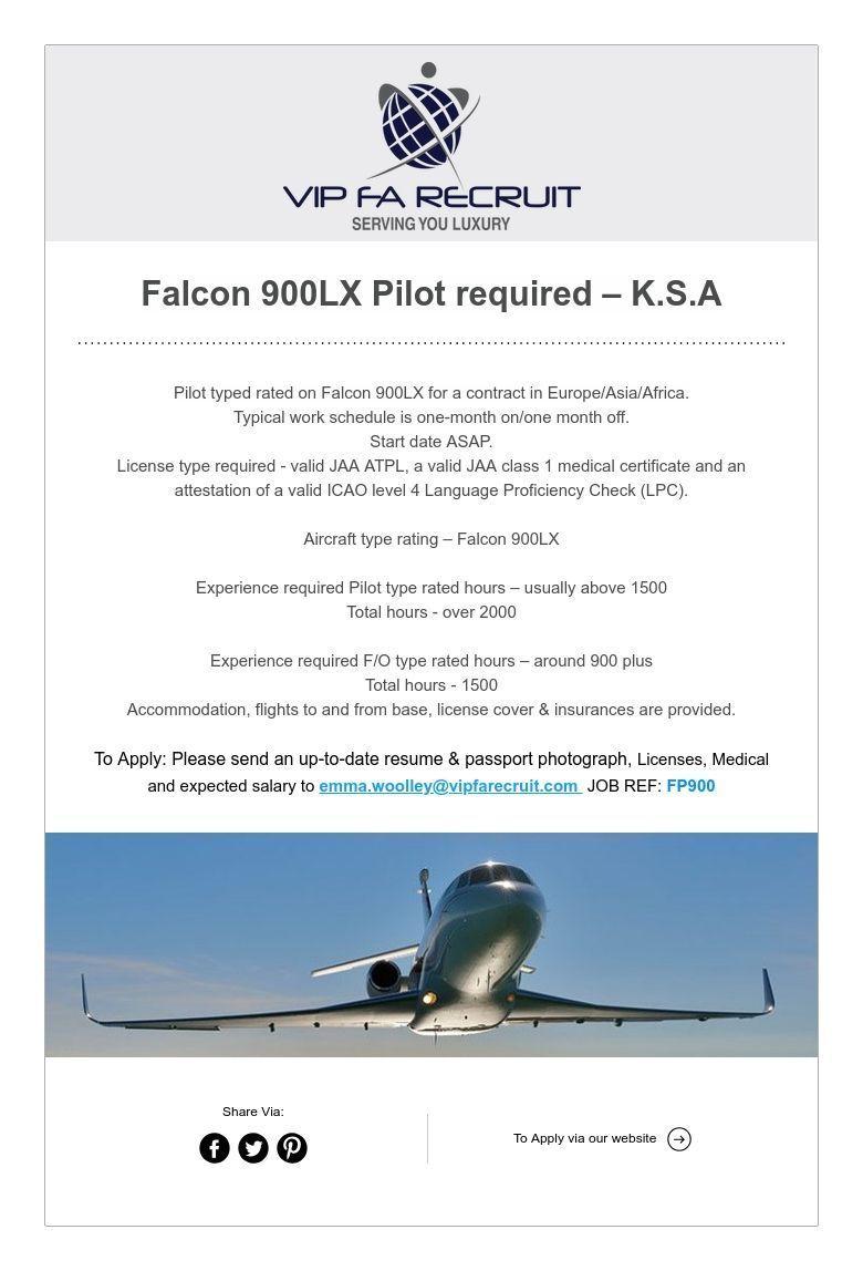 Falcon 900LX Pilot required K.S.A Pilot, Language