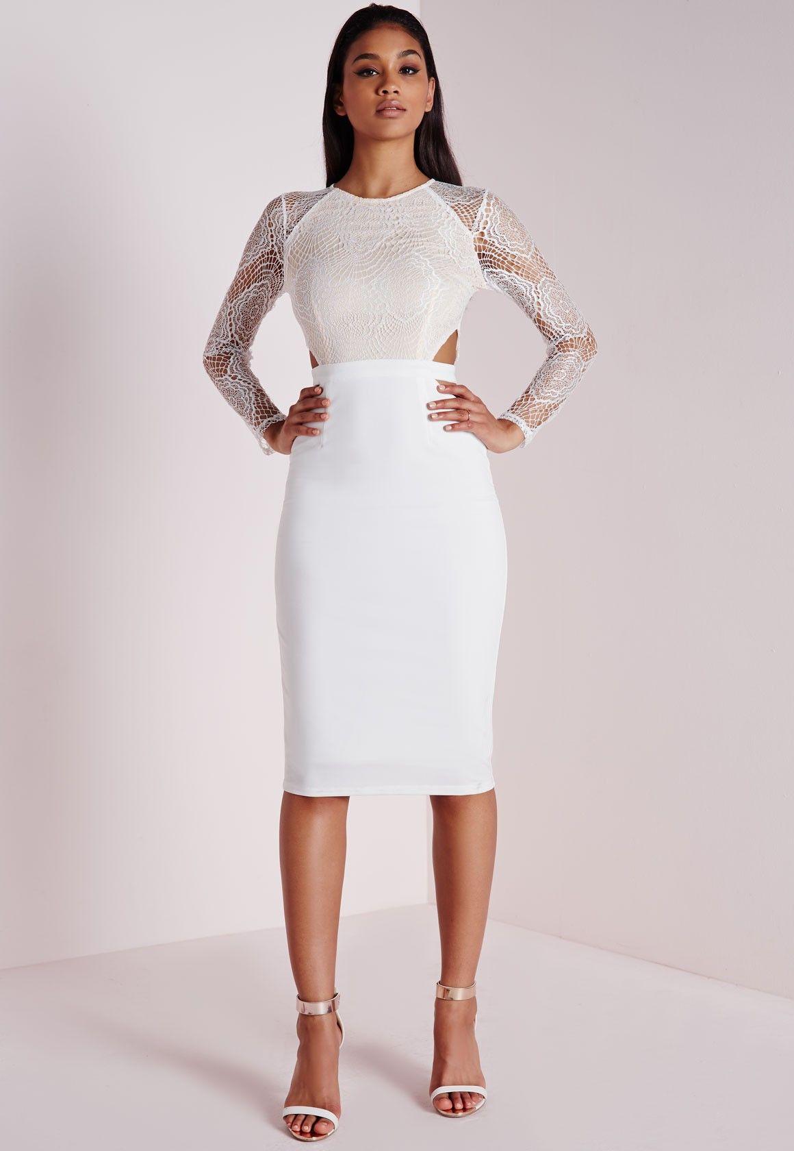 7084db918d9b Lace Long Sleeve Cut Out Midi Dress White - Dresses - Midi Dresses -  Missguided