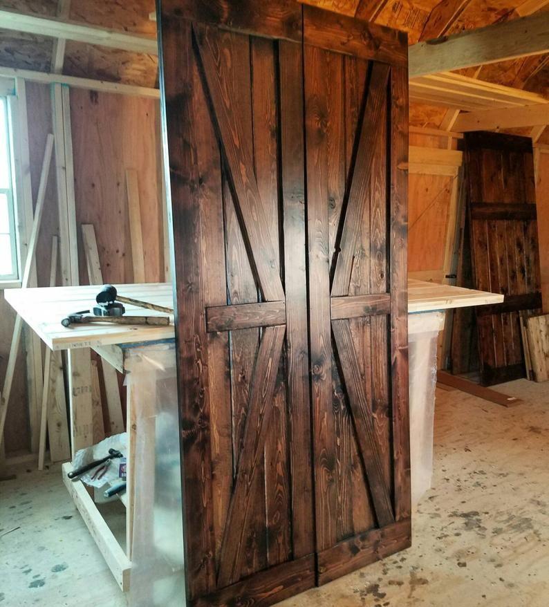 Double British Brace Barn Door Sliding Set with Hardware – F…