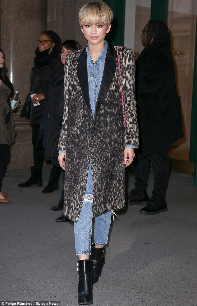 Animal magnetism: All eyes were on Zendaya as she strutted around New York in a leopard pr...