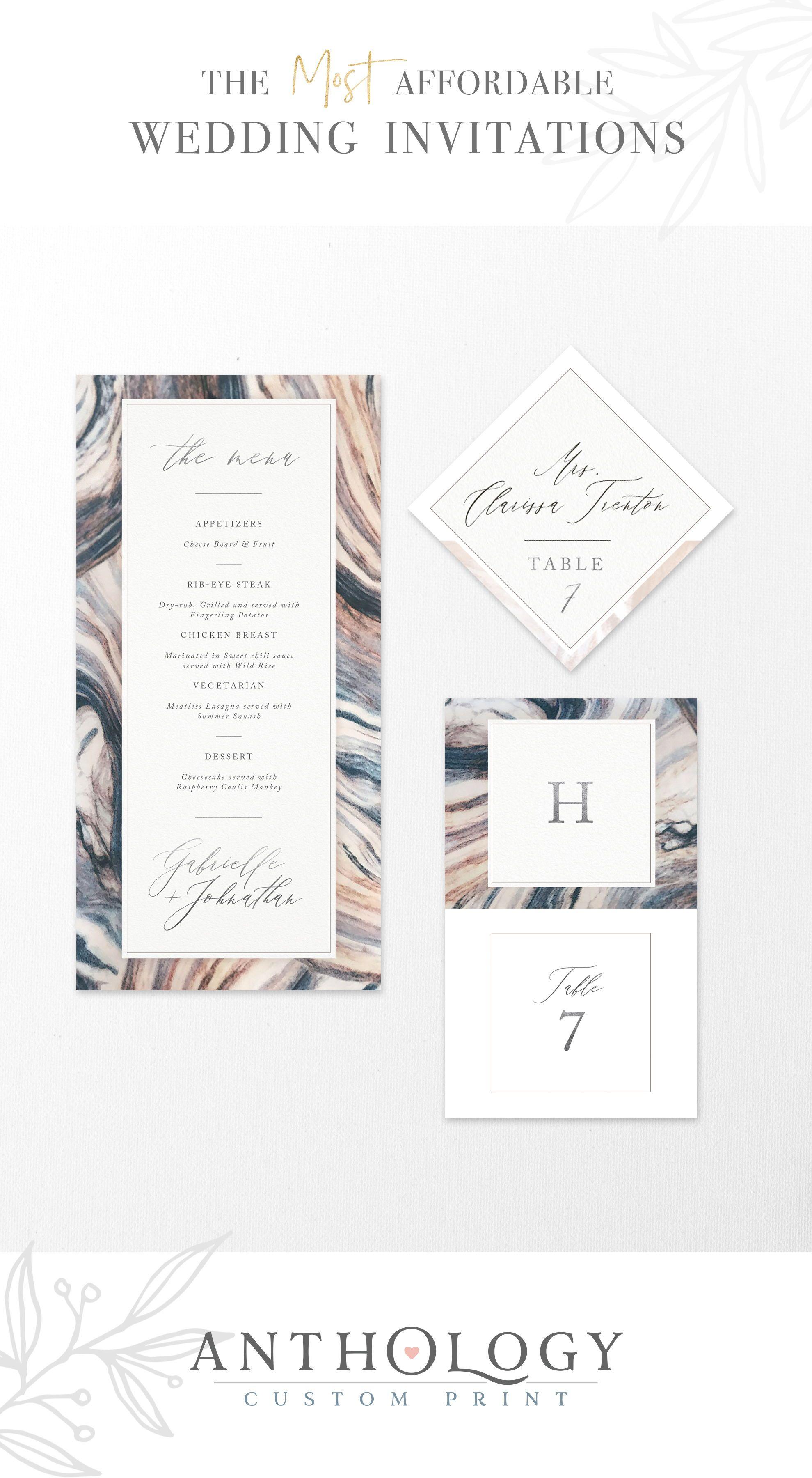 Marble Wedding Menus Affordable Wedding Invitations Anthology