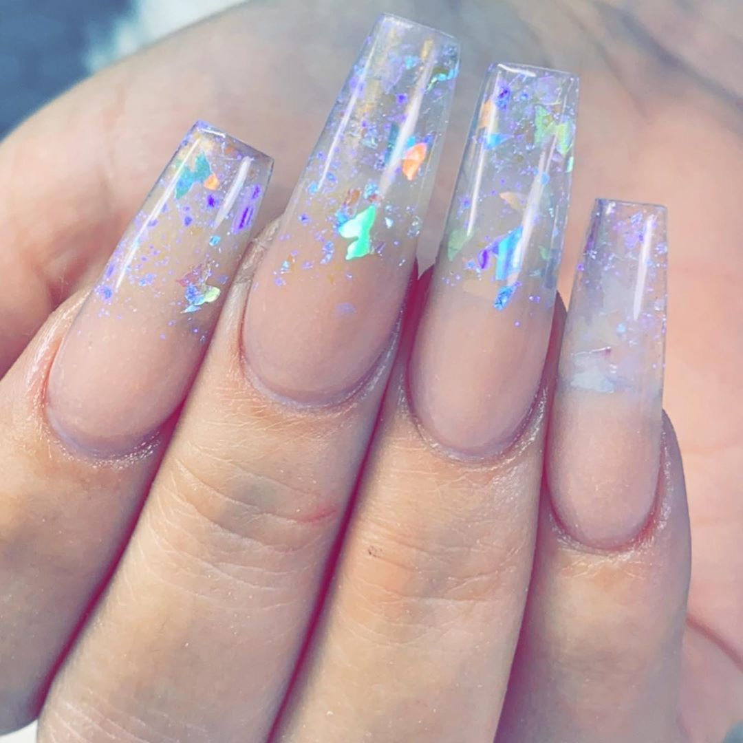 Pin By Rebecca Moody On Nails In 2020 Clear Glitter Nails Best Acrylic Nails Glitter Nails