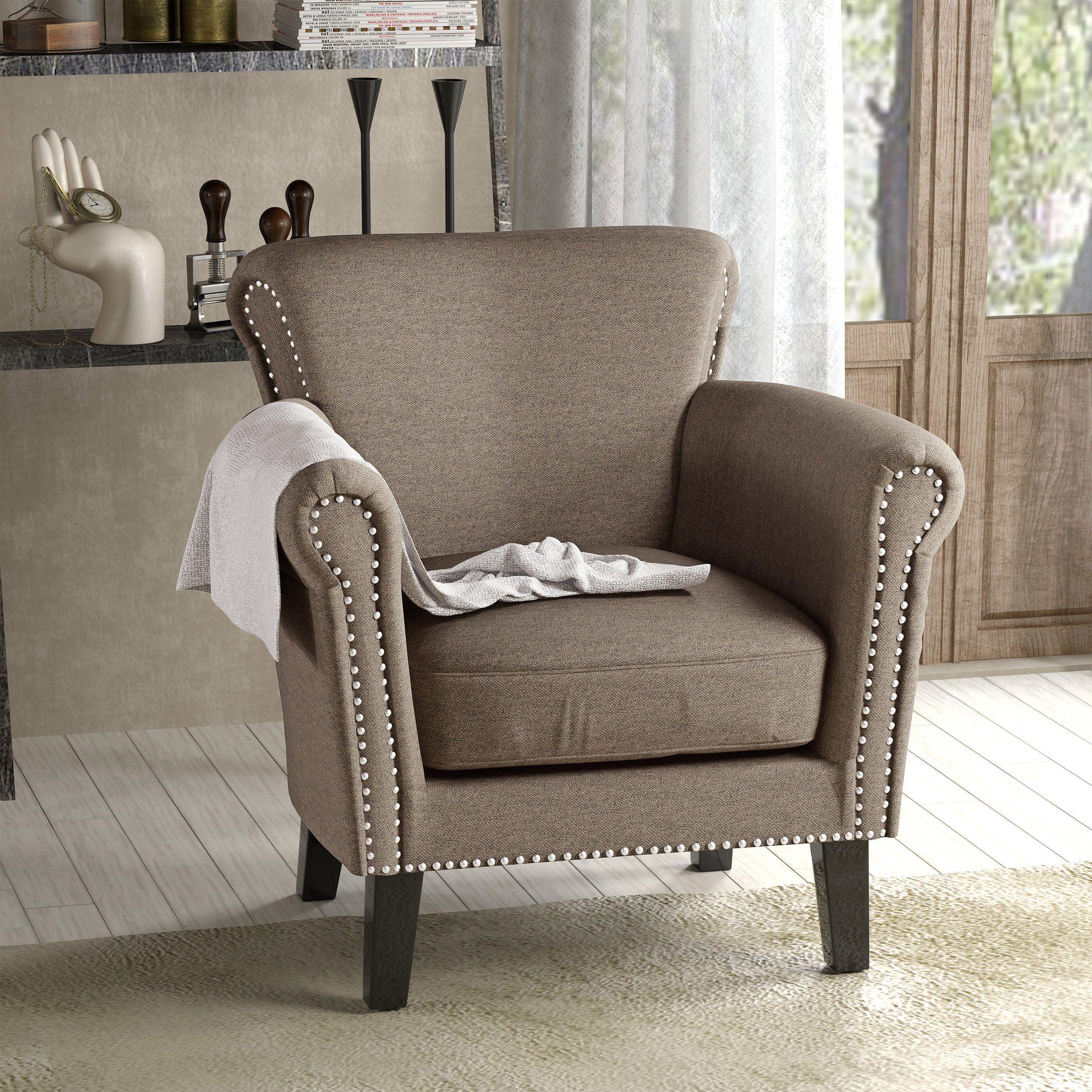 Bly Vintage Scroll Arm Studded Fabric Club Chair