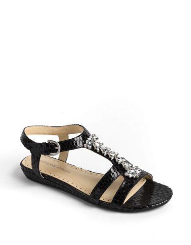Adrienne Vittadini Tyne Ankle Wrap Sandals BLACK