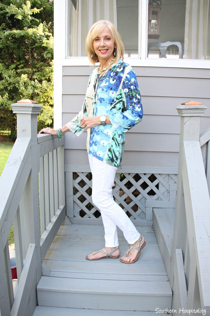 59c8f9849be8 White jeans and Tribal top for a casual summer to Fall transition. I plan  to continue wearing my white jeans with boots and sweaters!