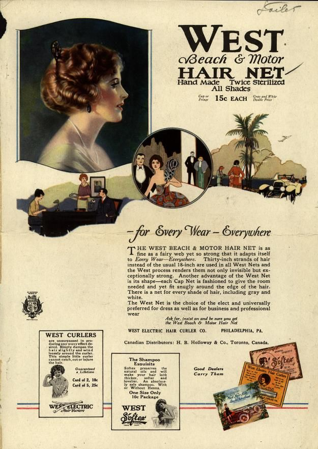 West Beach & Motor Hair Net.  - For Every Wear -  Everywhere . From Duke Digital Collections. Collection: Ad*Access