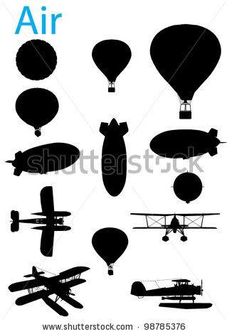 stock vector : Vector Vintage Aviation Silhouette Set