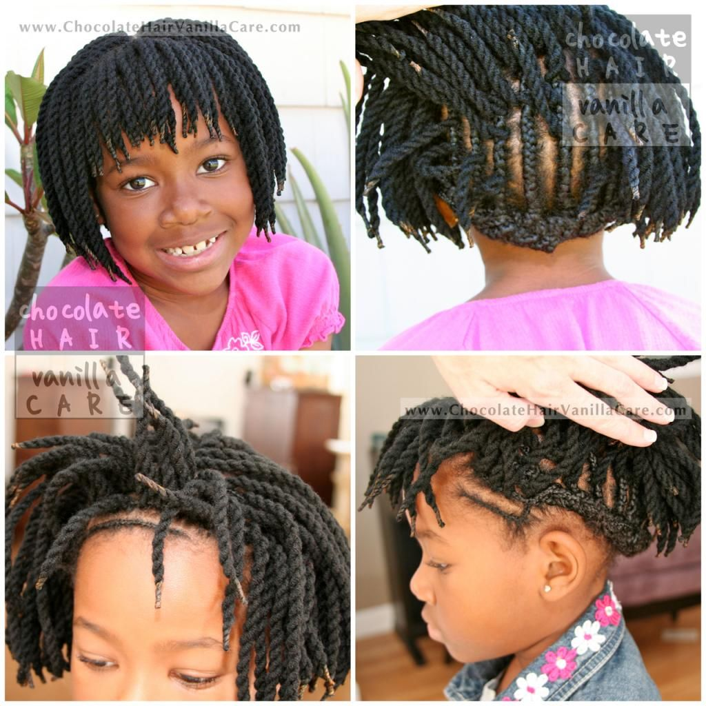 Short Yarn Crochet Twists With Bangs And Protected Edges