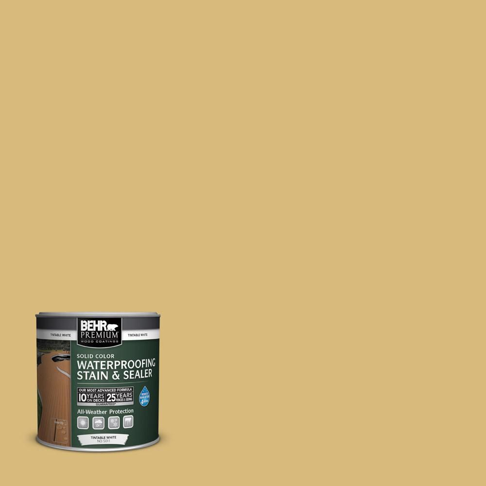 Behr Premium 8 Oz Sc139 Colonial Yellow Solid Color Weatherproofing All In One Wood Stain And Sealer Sample