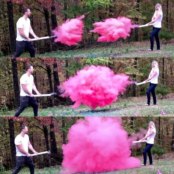 "24/"" GENDER REVEAL POWDER CANNON Smoke bomb blue pink boy or girl Gender Reveal"