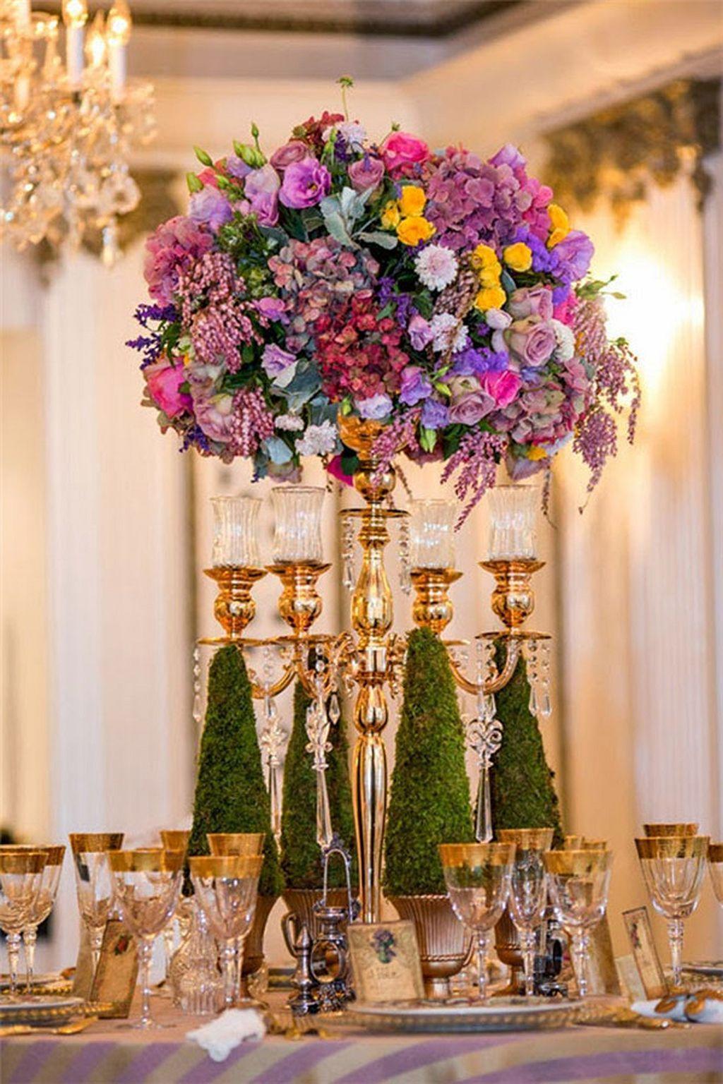 Wedding decoration ideas purple   elegant floral wedding centerpiece ideas   Floral wedding