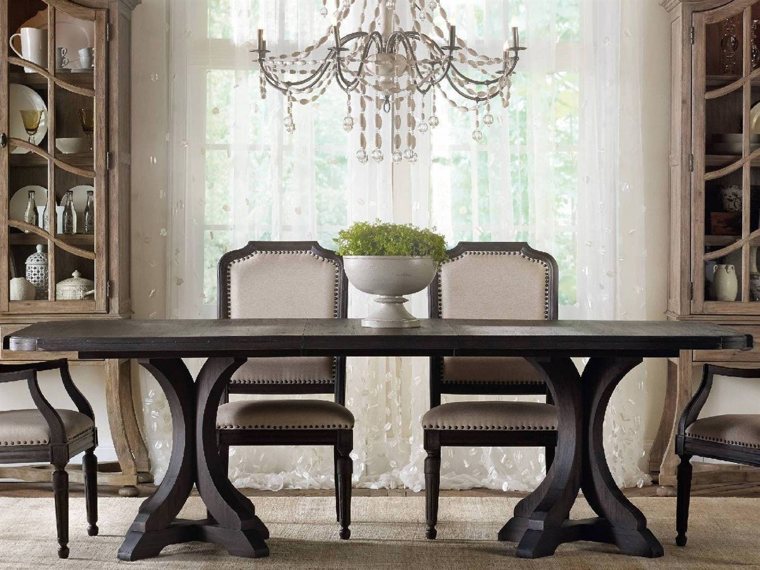 Hooker Furniture Corsica Dark Wood 78''L x 44''W Rectangular Pedestal Dining Table images