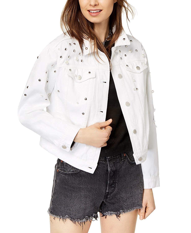 Juniors Ripped Embellished White Denim Jacket White Cr18khgal94 White Denim Jacket Denim Jacket White Denim [ 1500 x 1230 Pixel ]