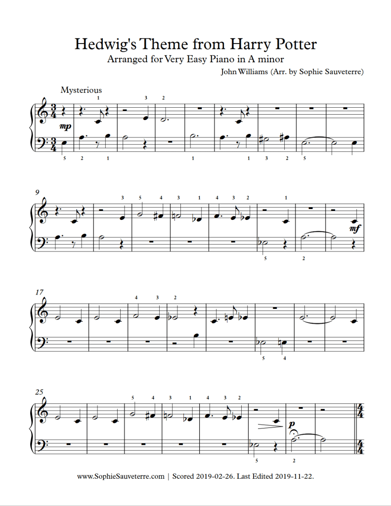 The Sheet Music Offered Here Is For Hedwig S Theme From Harry Potter It Is Composed By John Williams And Arran Easy Piano Sheet Music Easy Piano Sheet Music