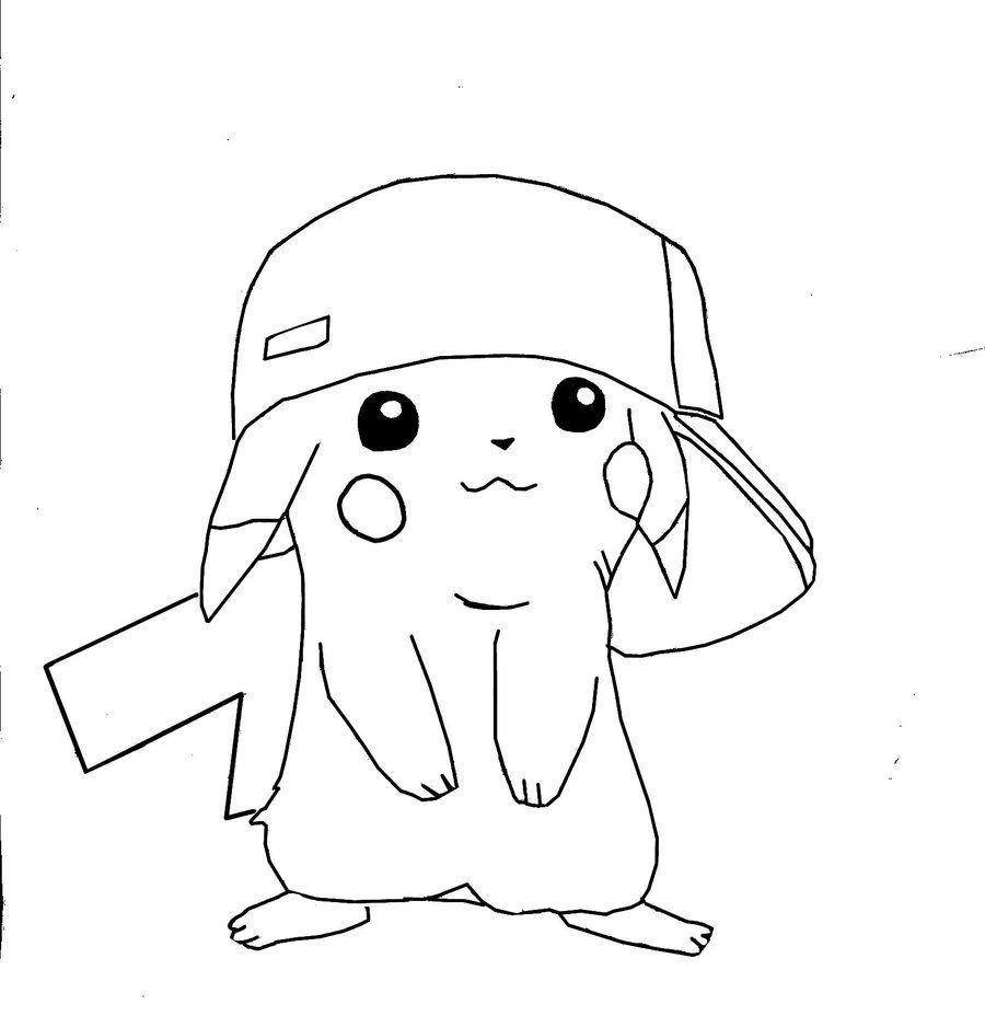 Pikachu Con Gorra Para Colorear Pokemon Coloring Pages
